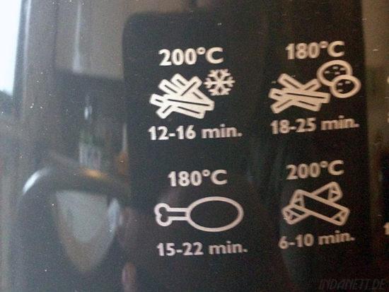 Schnellübersicht auf dem Airfryer selbst